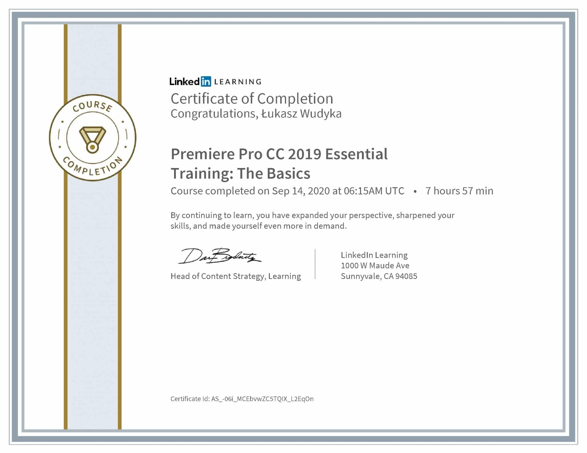 Łukasz Wudyka certyfikat LinkedIn Premiere Pro CC 2019 Essential Training: The Basics