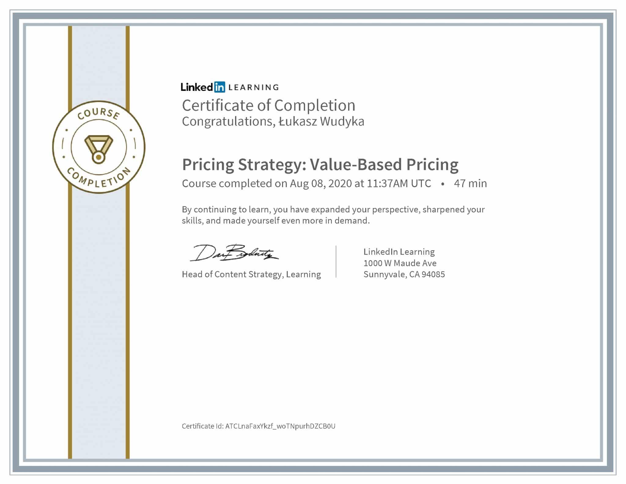 Łukasz Wudyka certyfikat LinkedIn Pricing Strategy: Value-Based Pricing