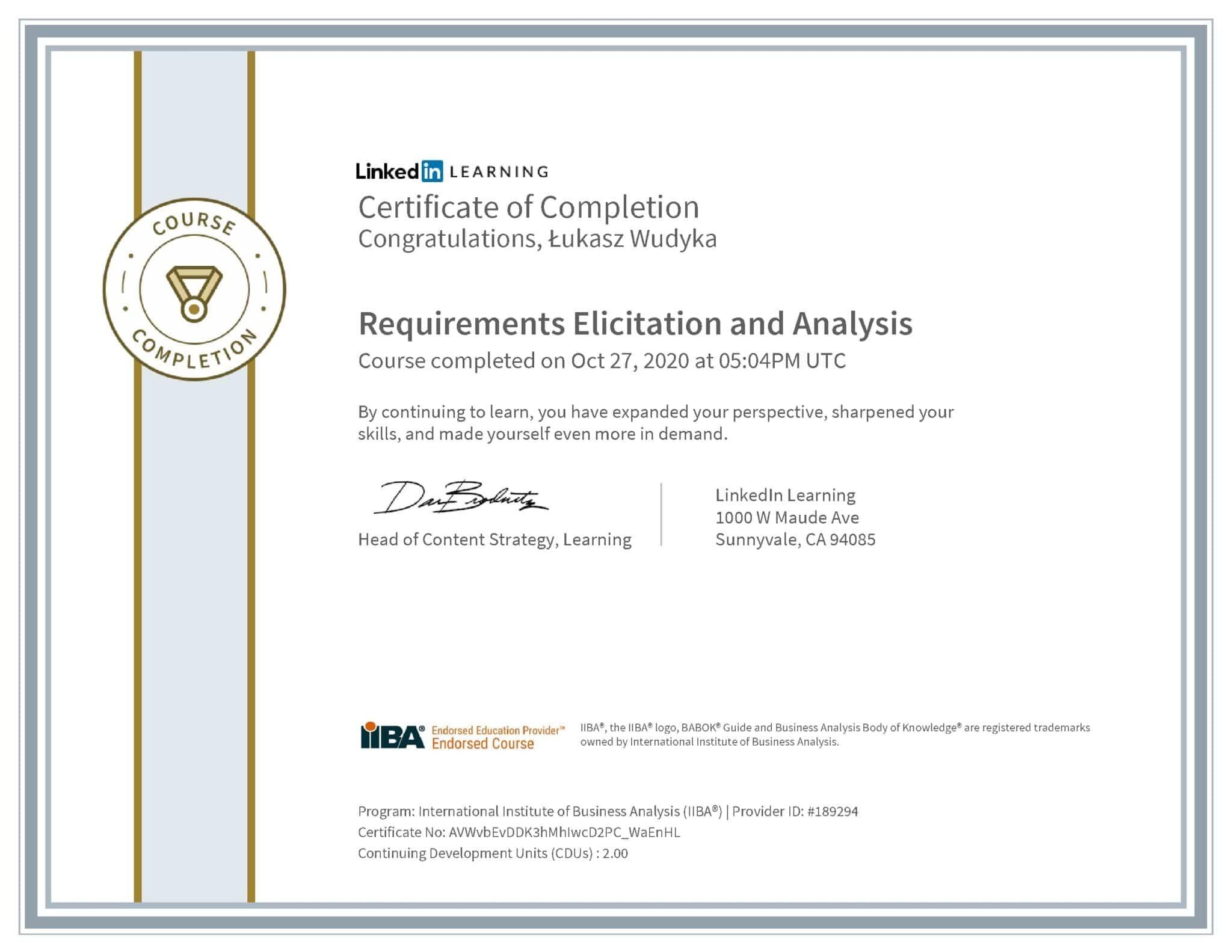 Łukasz Wudyka certyfikat LinkedIn Requirements Elicitation and Analysis IIBA
