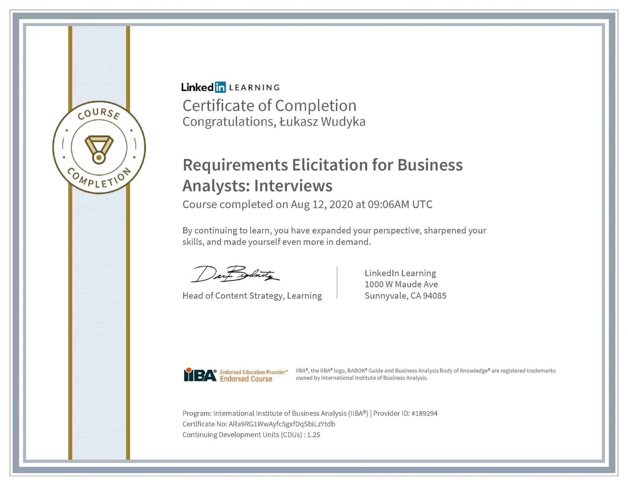 Łukasz Wudyka certyfikat LinkedIn Requirements Elicitation for Business Analysts: Interviews IIBA