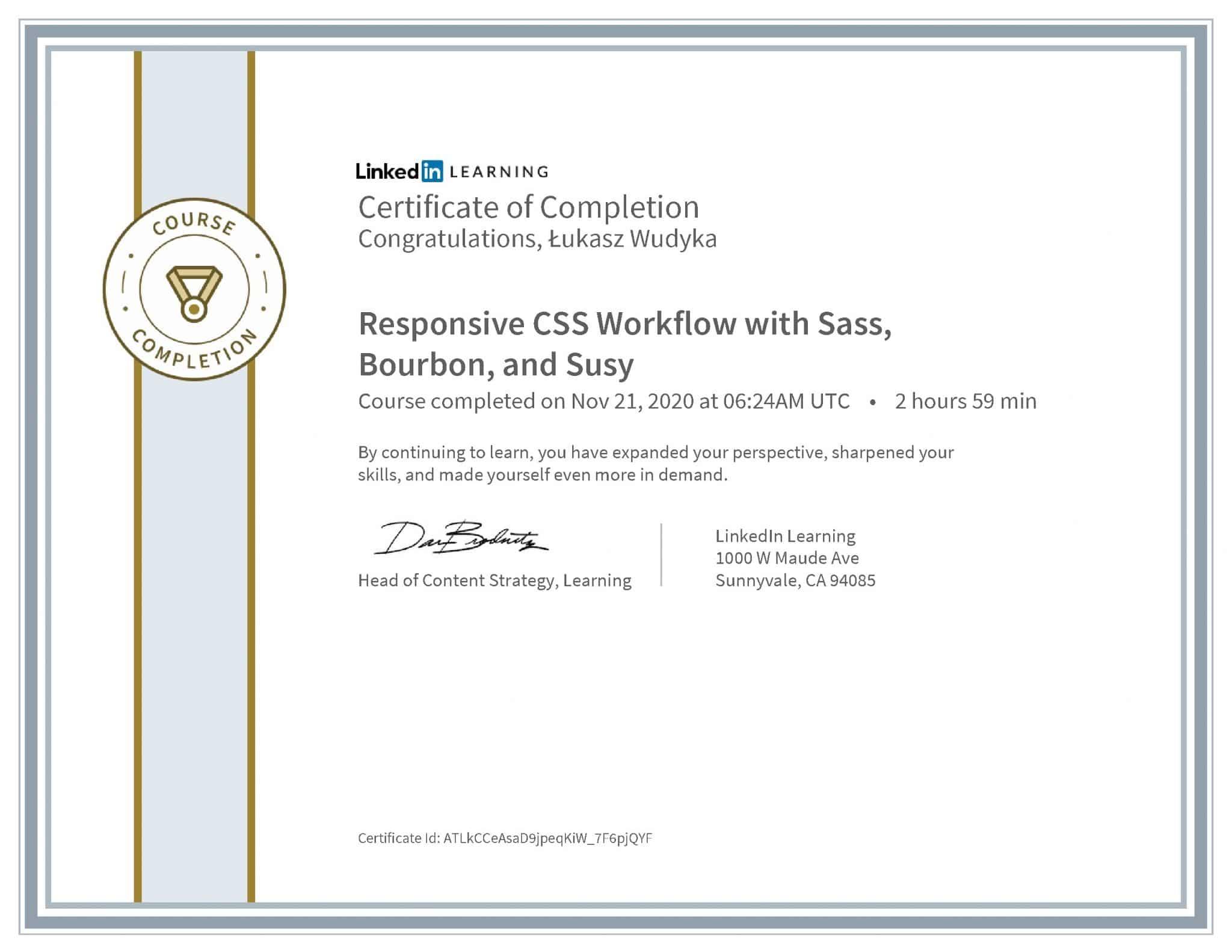 Łukasz Wudyka certyfikat LinkedIn Responsive CSS Workflow with Sass, Bourbon, and Susy
