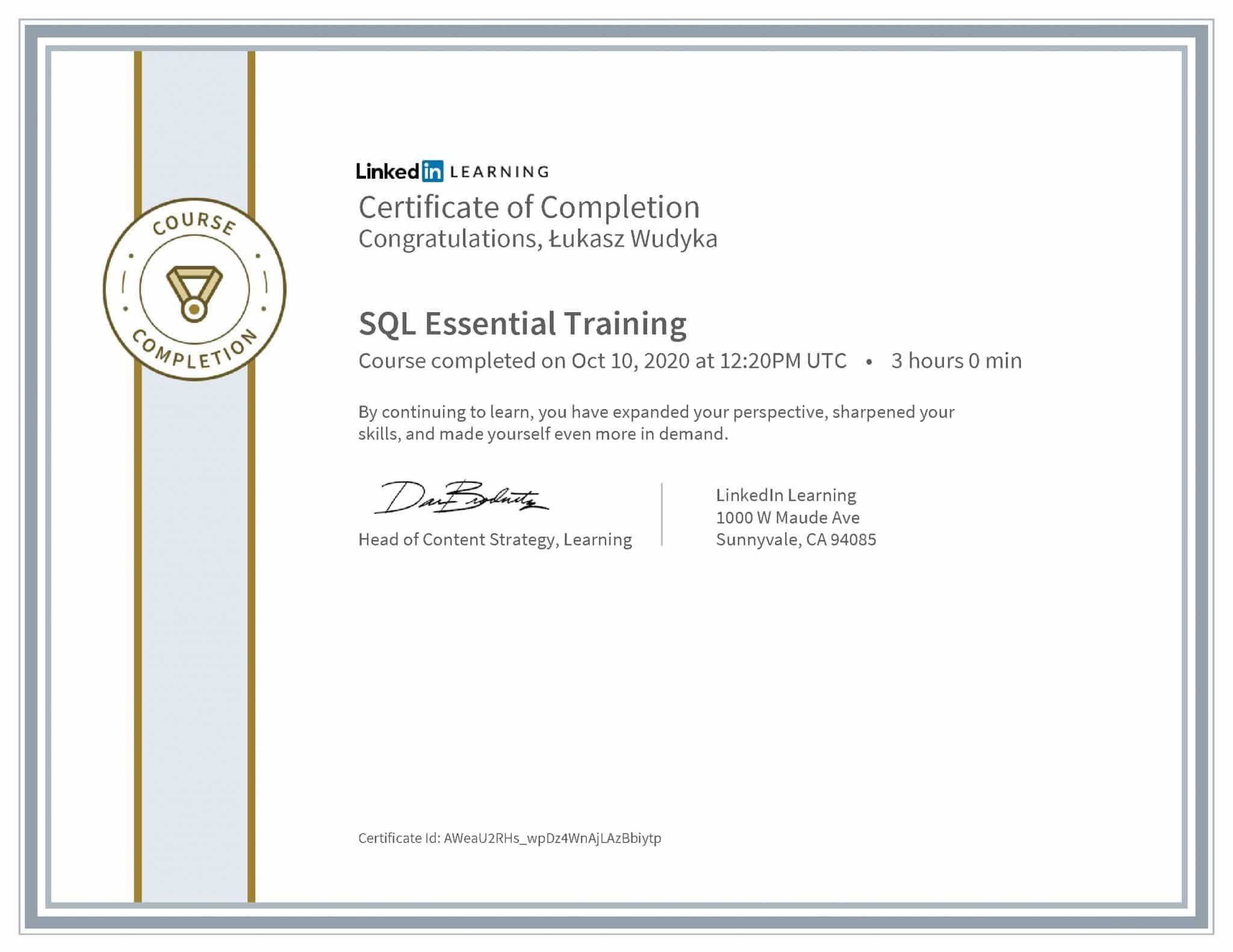 Łukasz Wudyka certyfikat LinkedIn SQL Essential Training