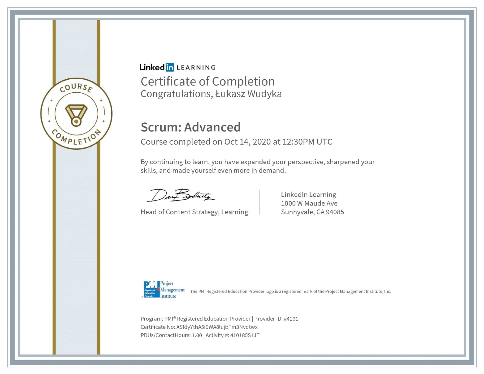 Łukasz Wudyka certyfikat LinkedIn Scrum: Advanced PMI