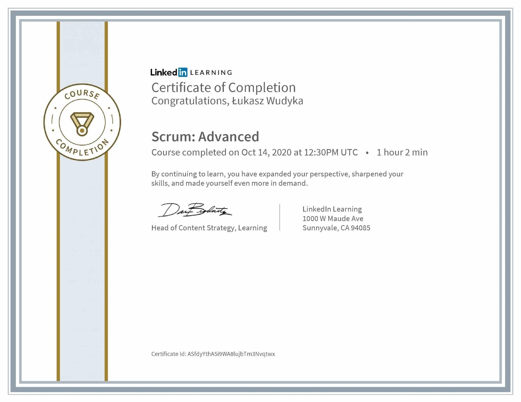 Łukasz Wudyka certyfikat LinkedIn Scrum: Advanced