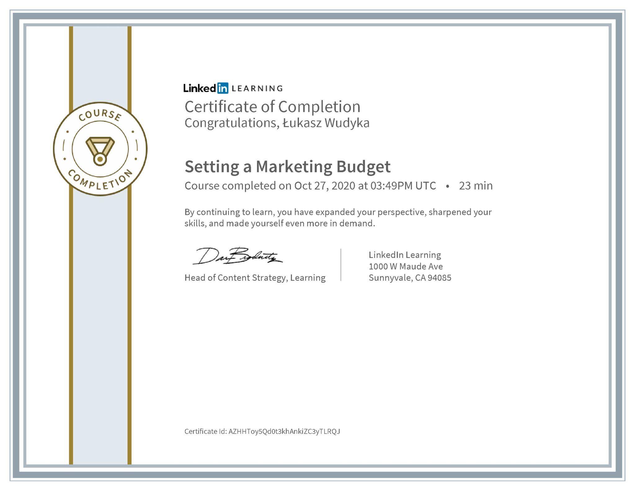 Łukasz Wudyka certyfikat LinkedIn Setting a Marketing Budget