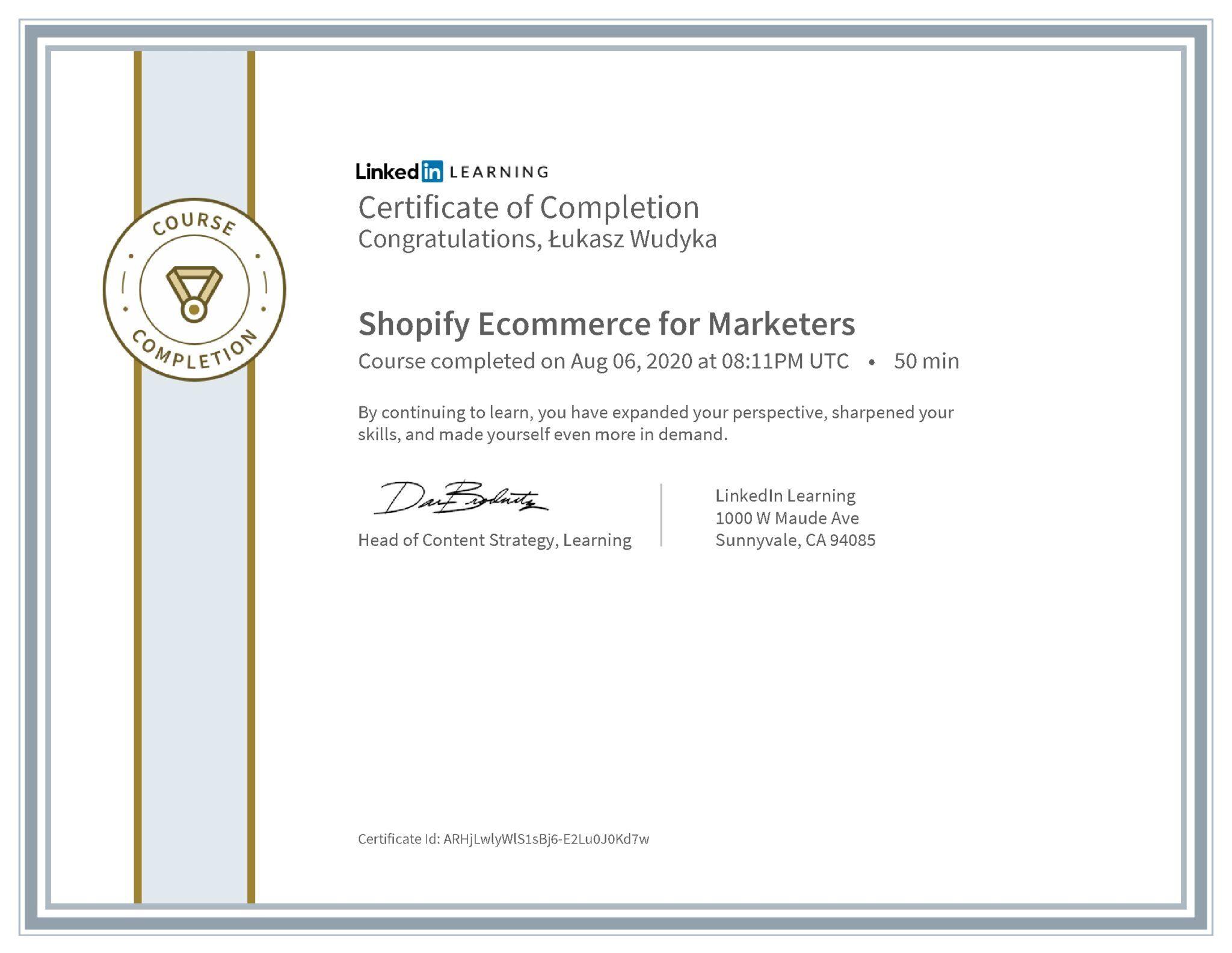 Łukasz Wudyka certyfikat LinkedIn Shopify Ecommerce for Marketers