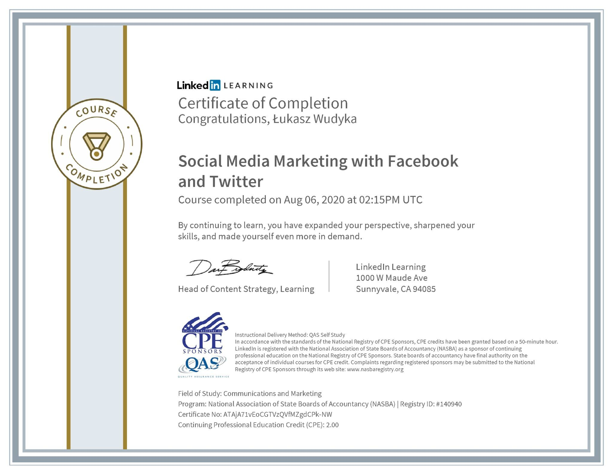 Łukasz Wudyka certyfikat LinkedIn Social Media Marketing with Facebook and Twitter NASBA