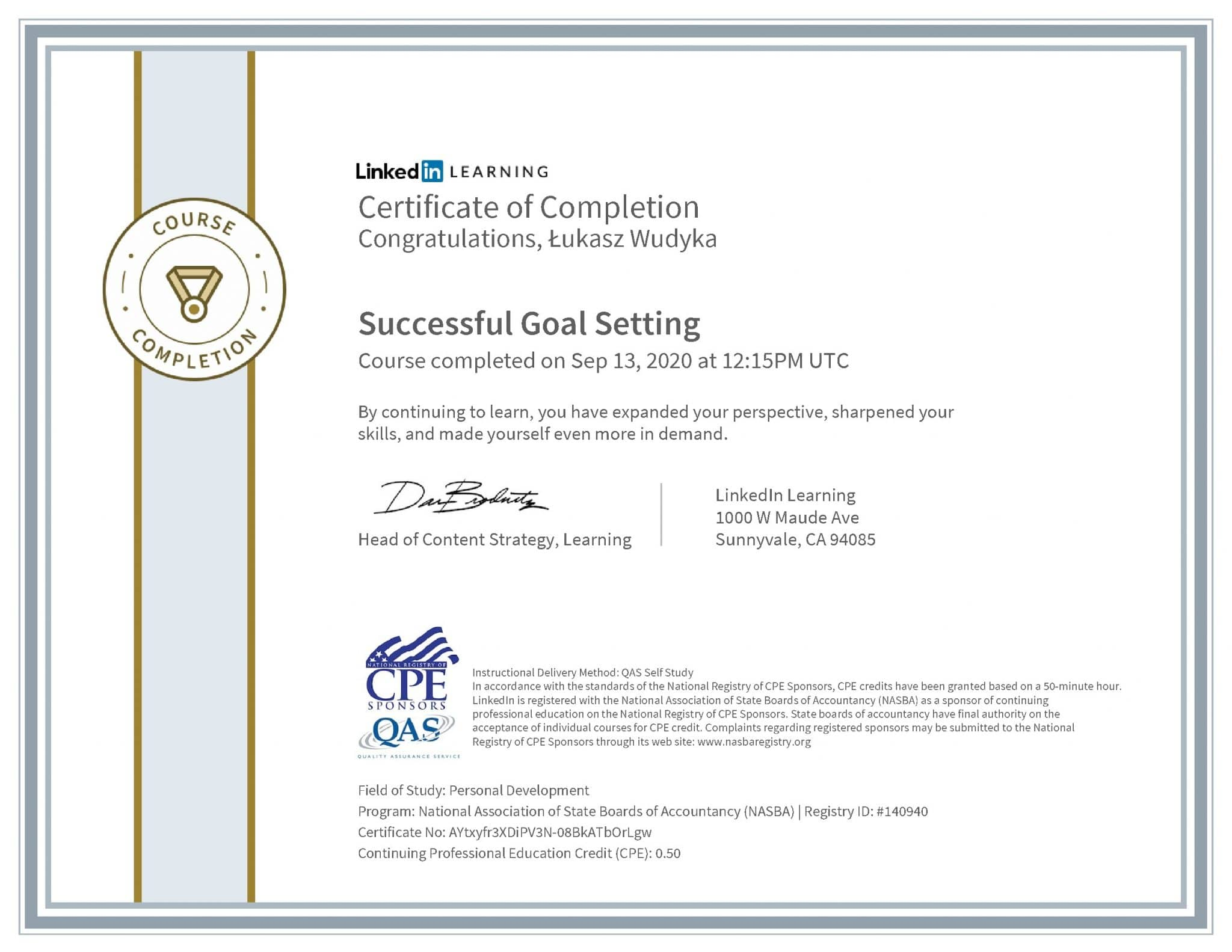 Łukasz Wudyka certyfikat LinkedIn Successful Goal Setting NASBA