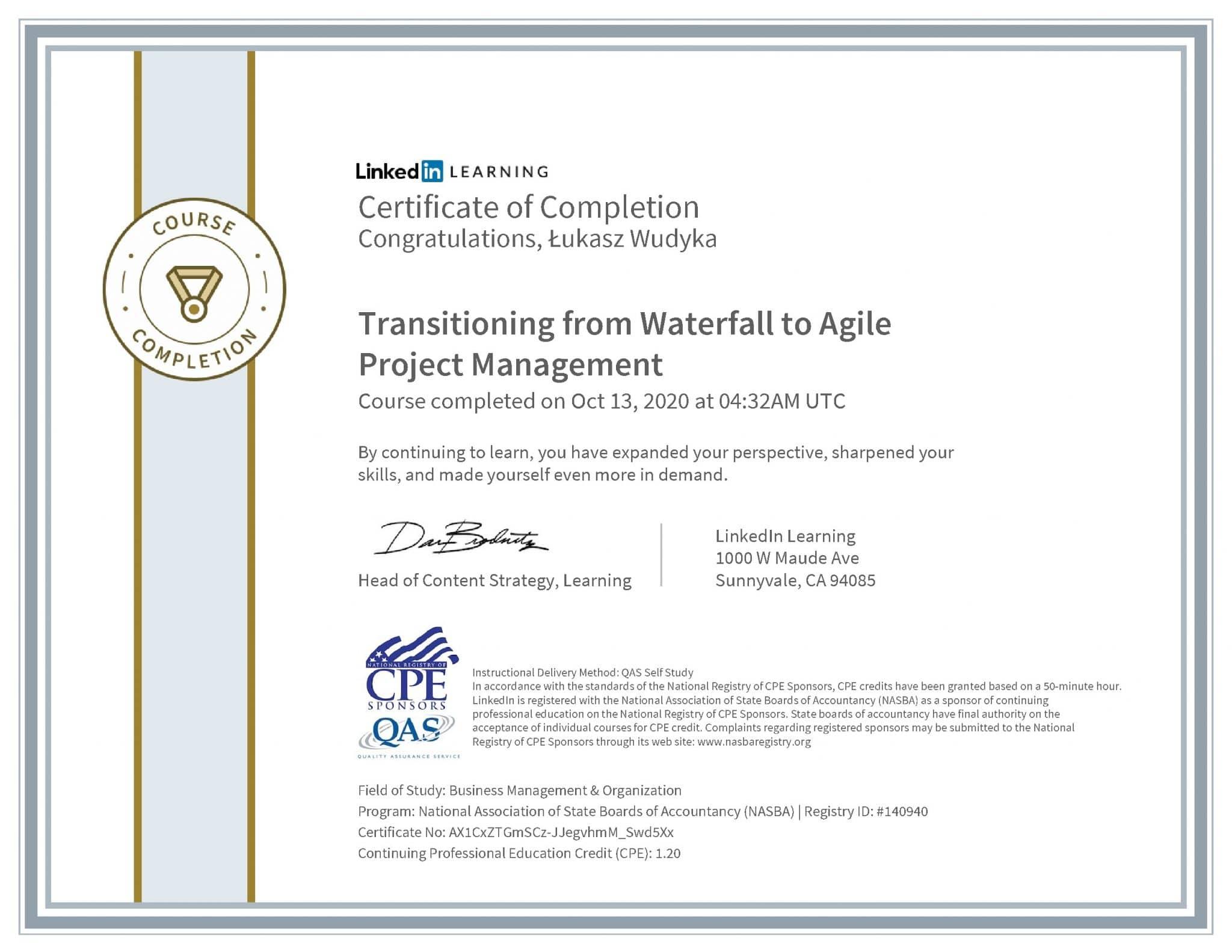 Łukasz Wudyka certyfikat LinkedIn Transitioning from Waterfall to Agile Project Management NASBA