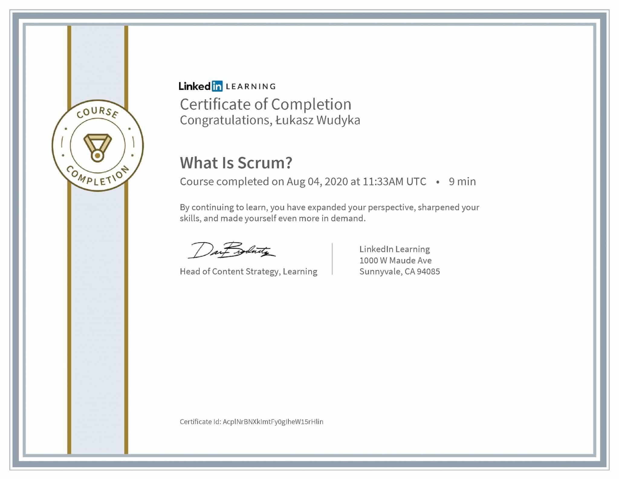 Łukasz Wudyka certyfikat LinkedIn What Is Scrum?
