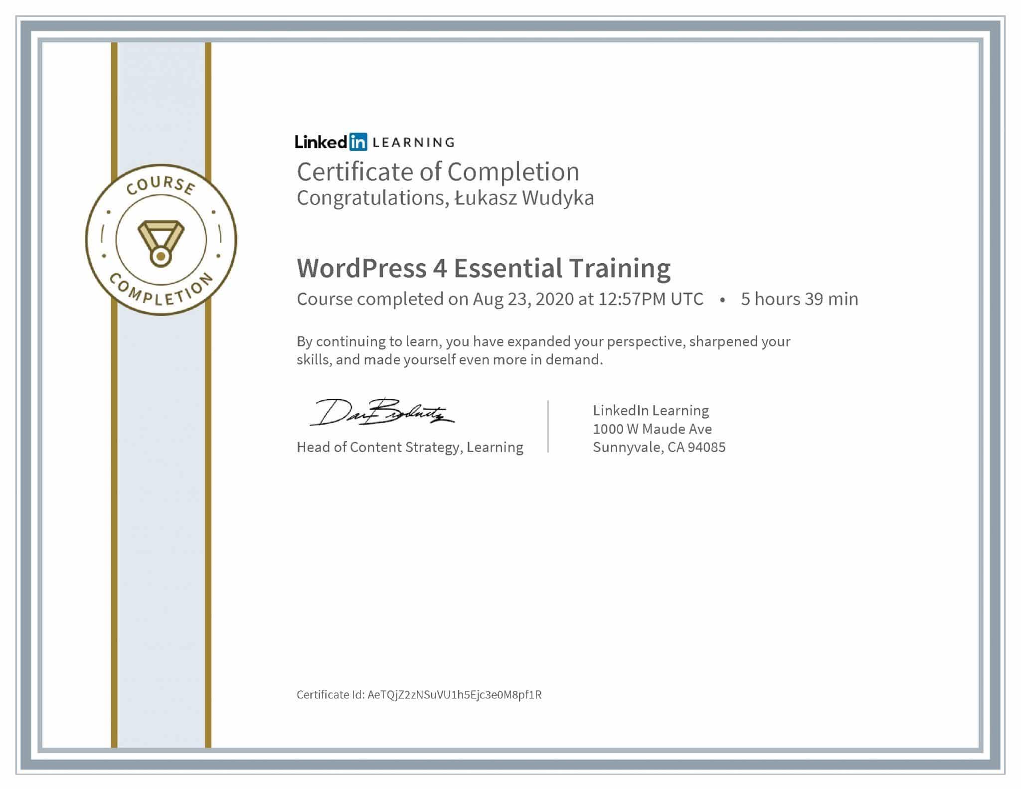Łukasz Wudyka certyfikat LinkedIn WordPress 4 Essential Training