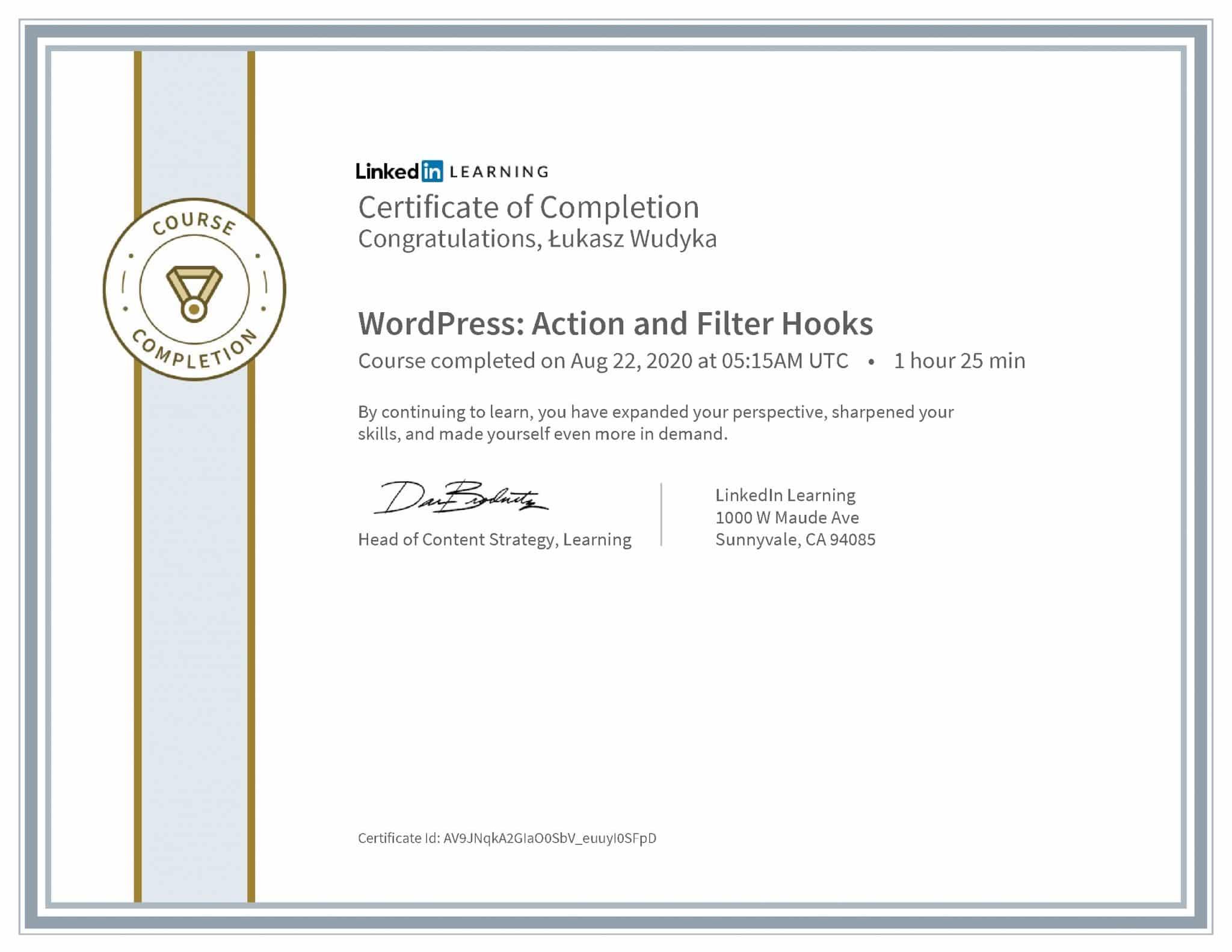 Łukasz Wudyka certyfikat LinkedIn WordPress: Action and Filter Hooks