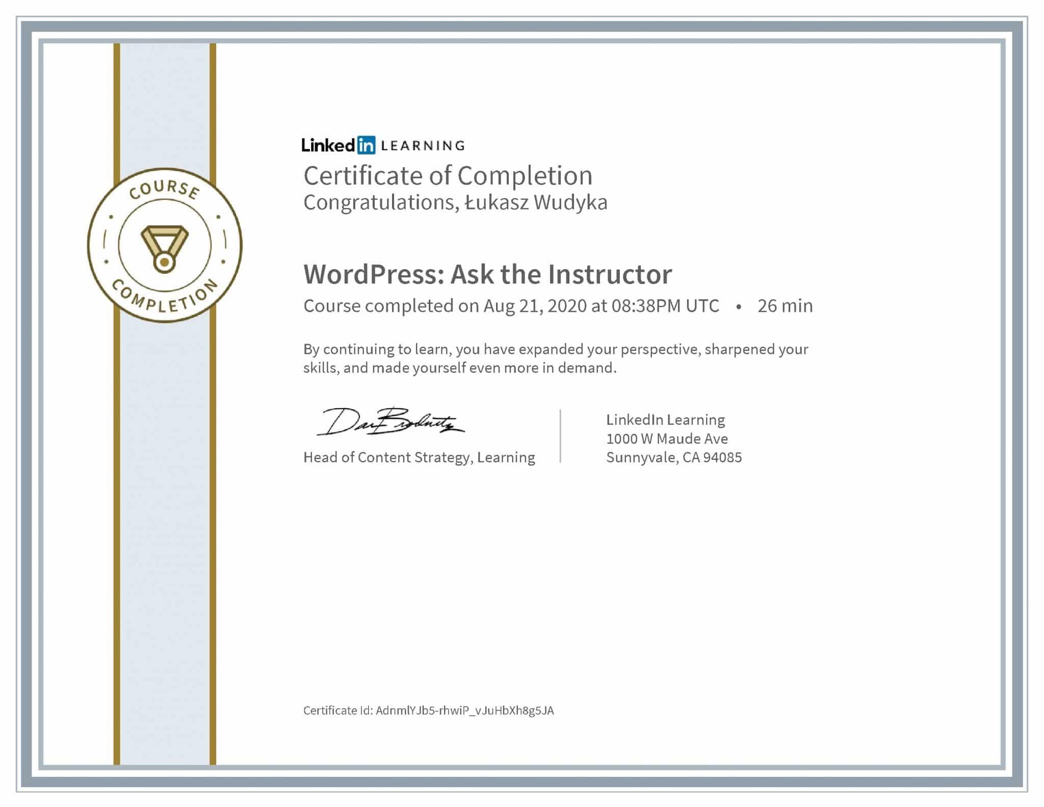Łukasz Wudyka certyfikat LinkedIn WordPress: Ask the Instructor