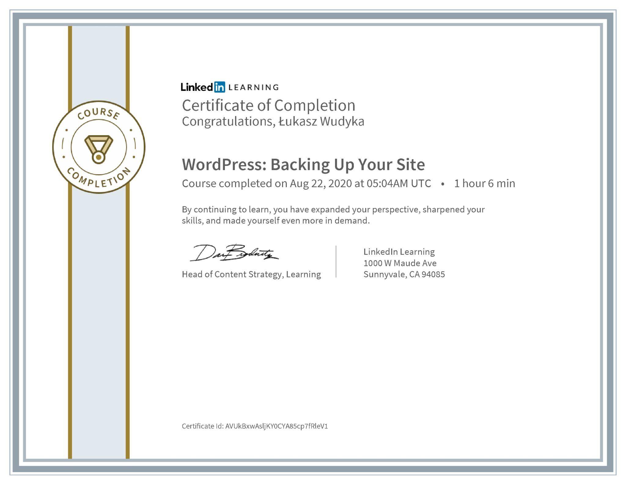 Łukasz Wudyka certyfikat LinkedIn WordPress: Backing Up Your Site