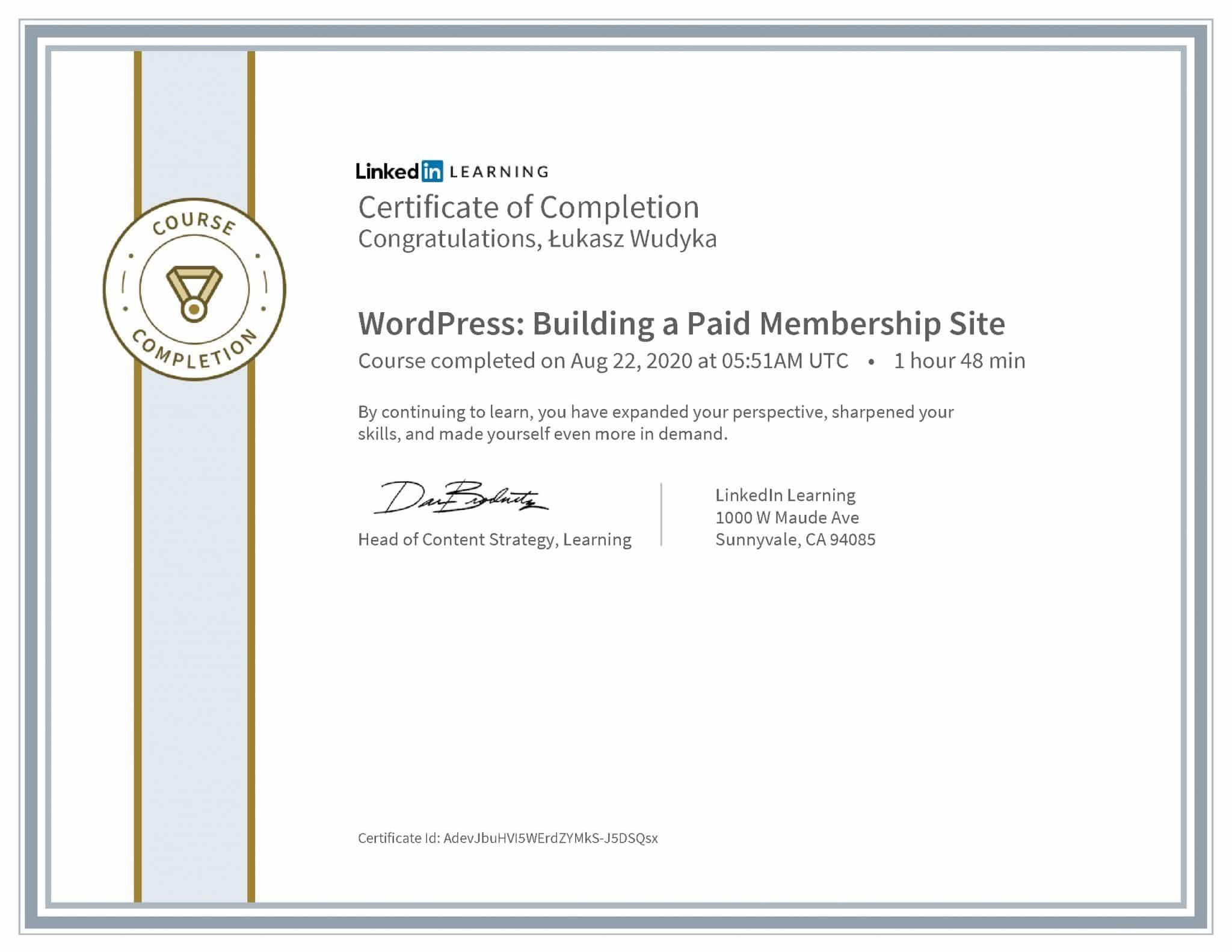 Łukasz Wudyka certyfikat LinkedIn WordPress: Building a Paid Membership Site