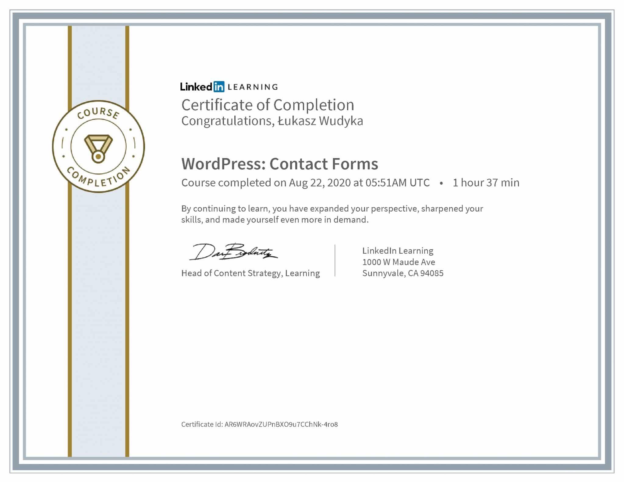 Łukasz Wudyka certyfikat LinkedIn WordPress: Contact Forms
