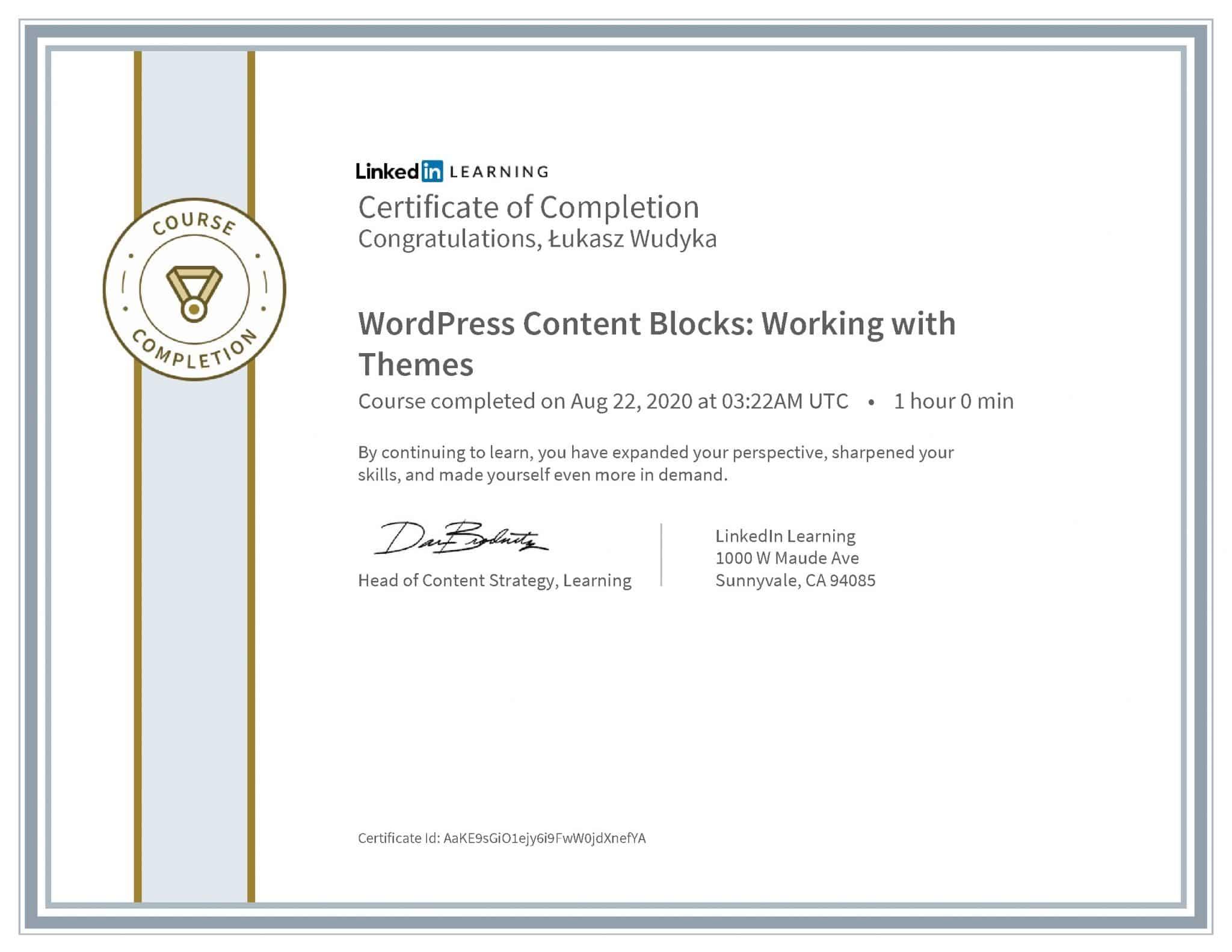 Łukasz Wudyka certyfikat LinkedIn WordPress Content Blocks: Working with Themes