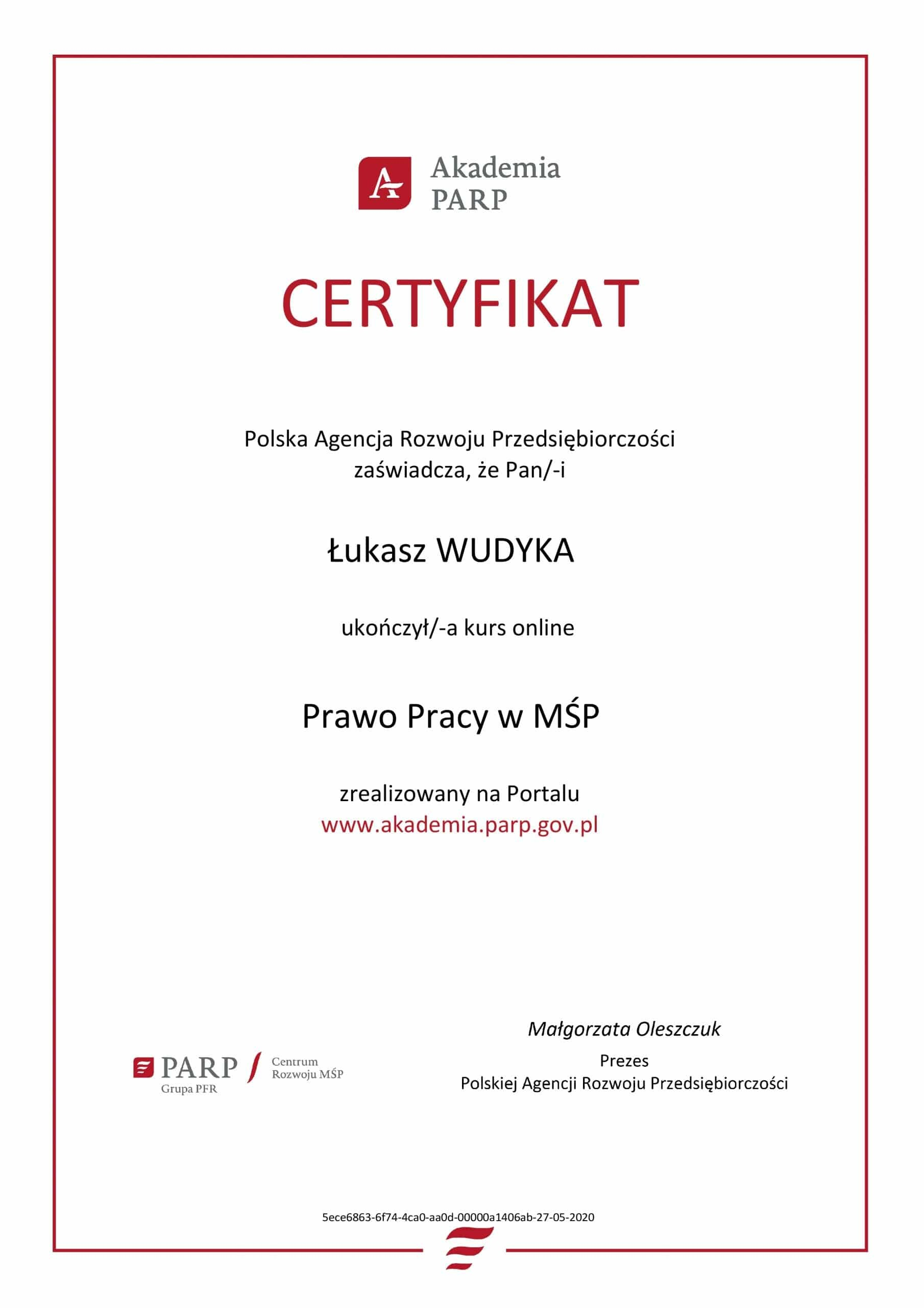 Łukasz Wudyka certyfikat Prawo Pracy w MŚP - Akademia PARP