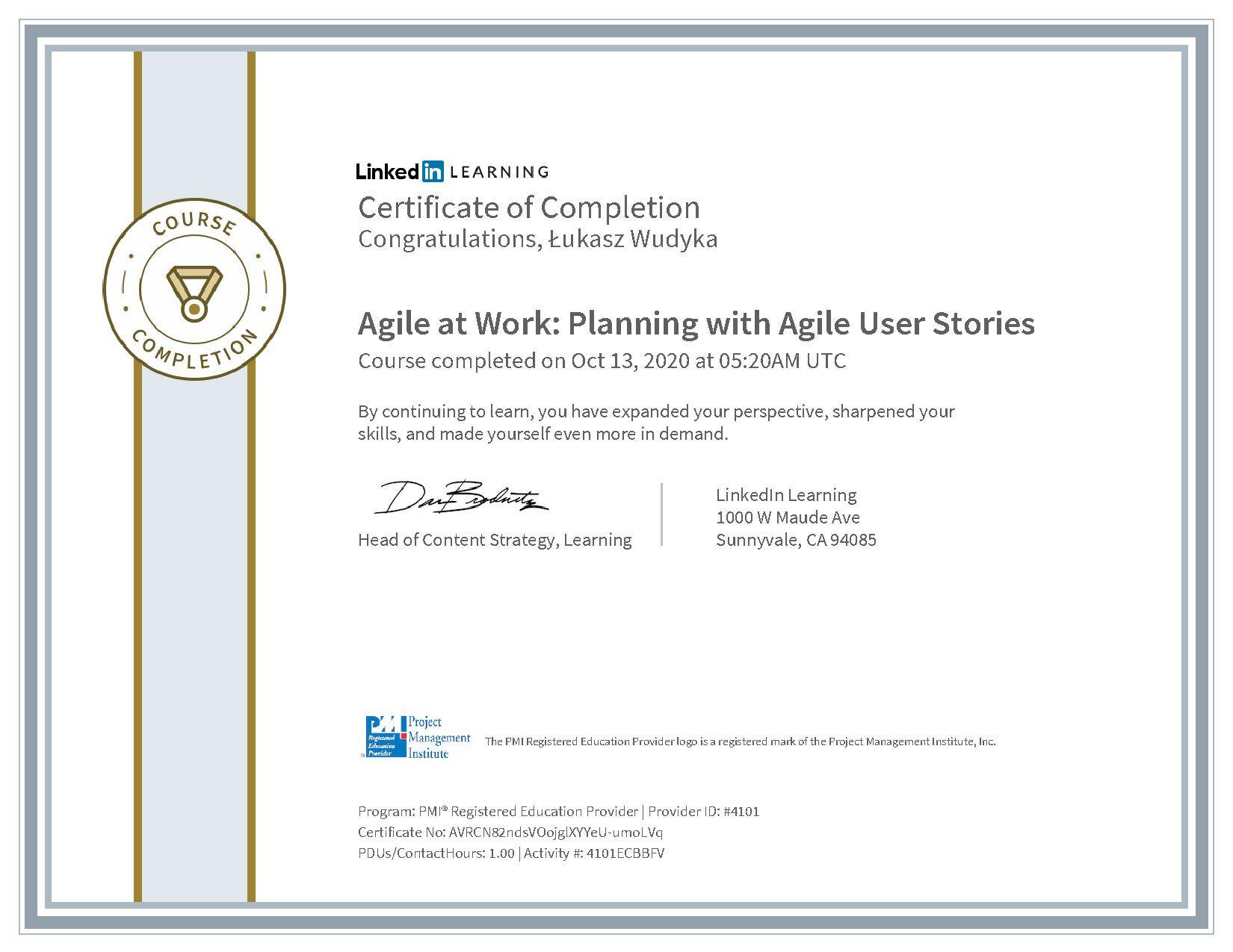 Łukasz Wudyka certyfikat LinkedIn Agile at Work: Planning with Agile User Stories PMI