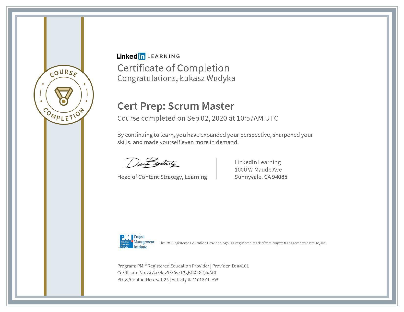 Łukasz Wudyka certyfikat LinkedIn Cert Prep: Scrum Master PMI