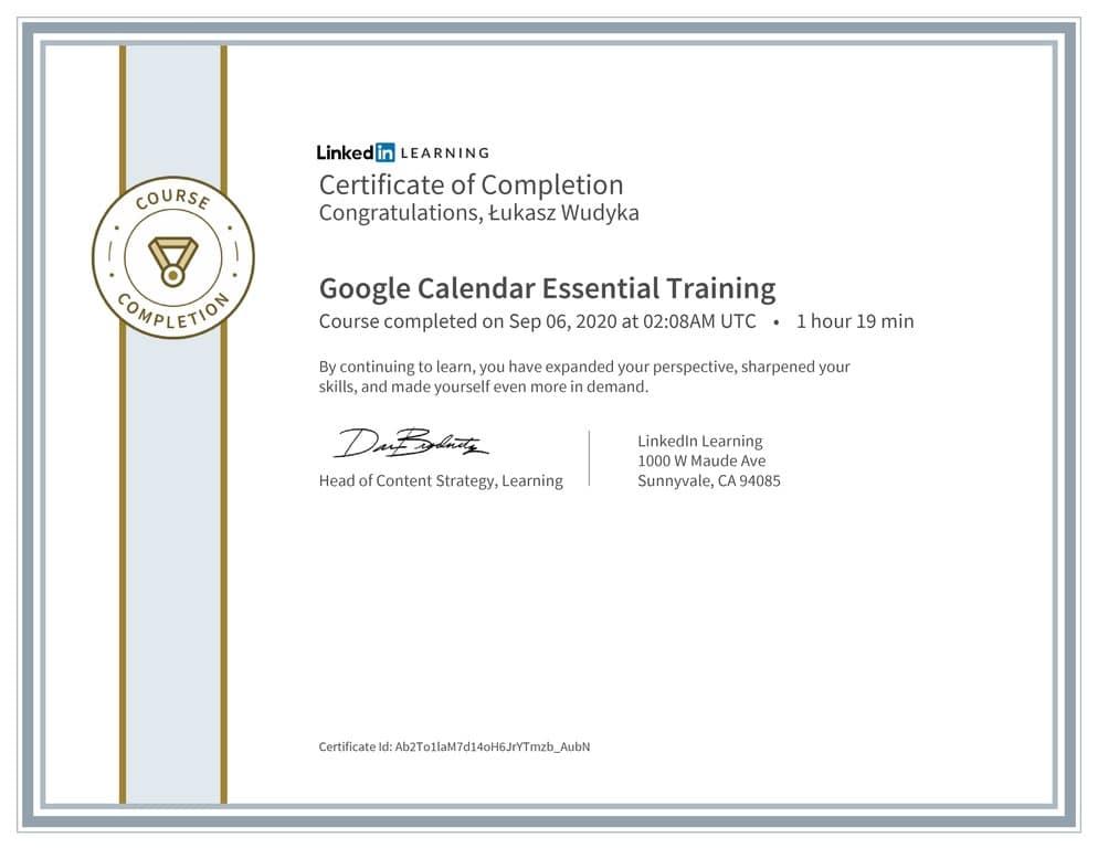 Łukasz Wudyka certyfikat LinkedIn Google Calendar Essential Training
