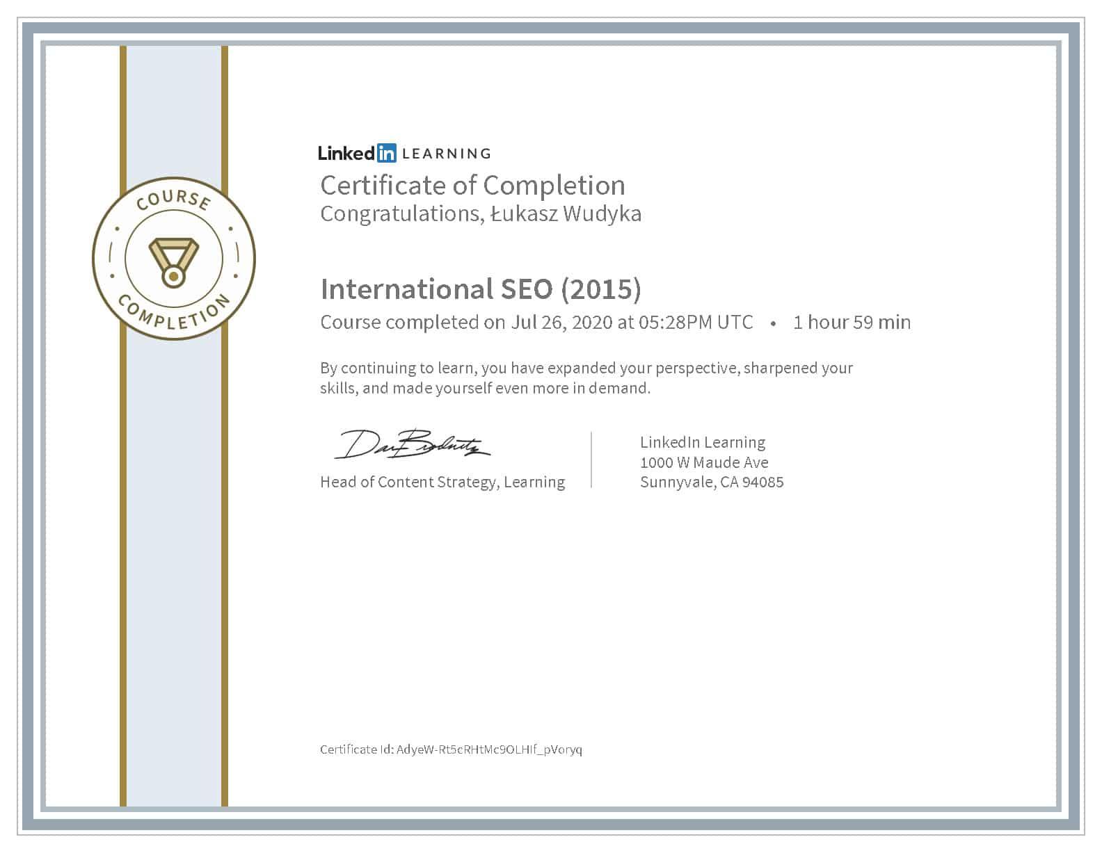 Certyfikat LinkedIn SEO