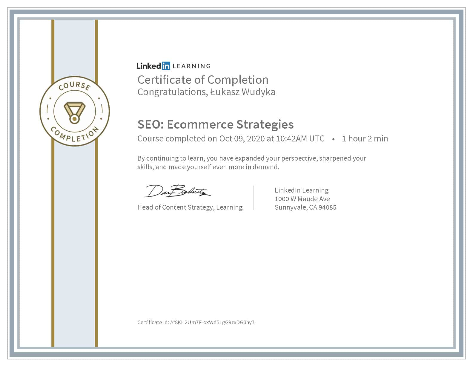 Certyfikat LinkedIn SEO e-commerce