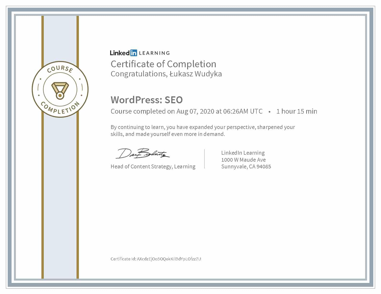 Certyfikat LinkedIn Wordpress Seo