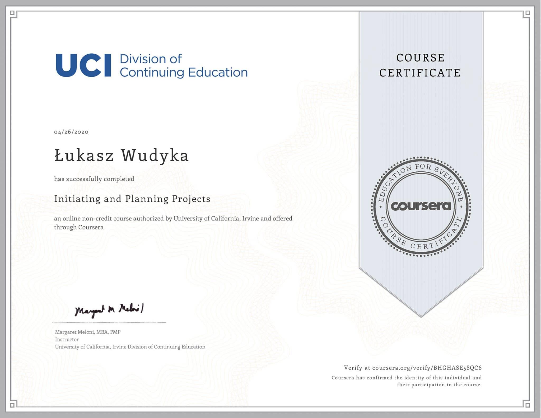 Certyfikat Coursera SEO