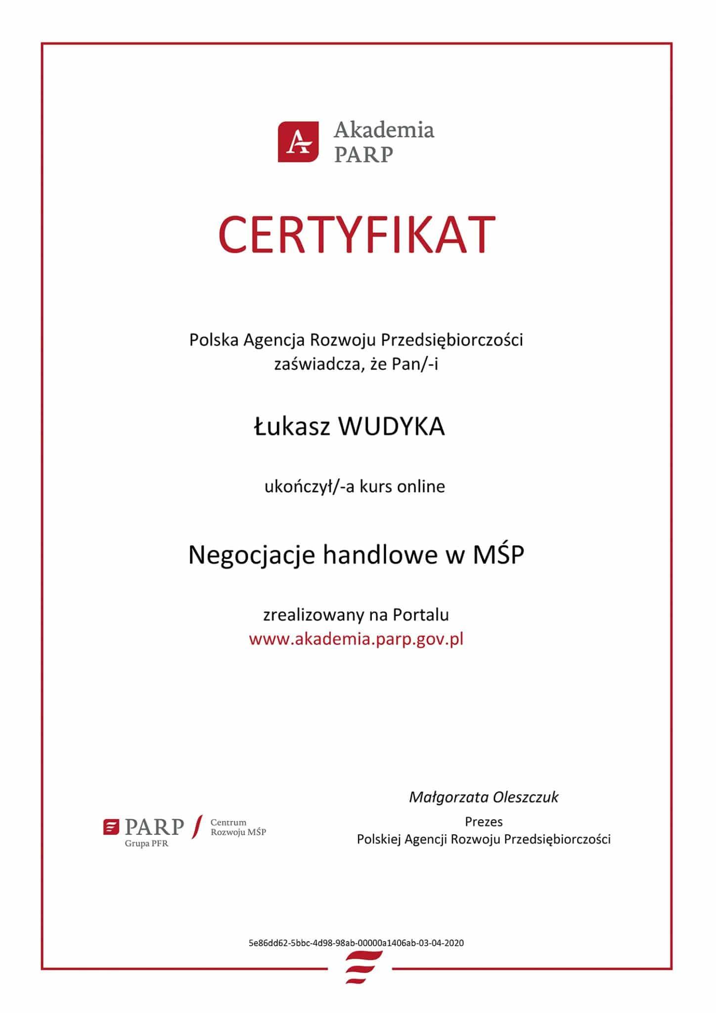 Certyfikat PARP negocjacje handlowe