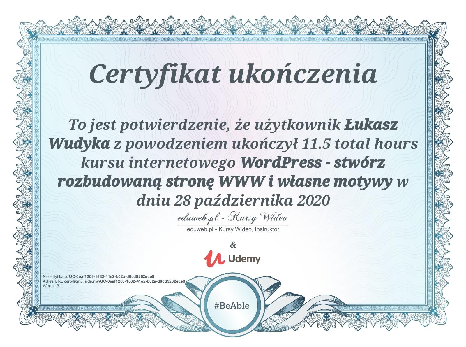 Certyfikat Udemy