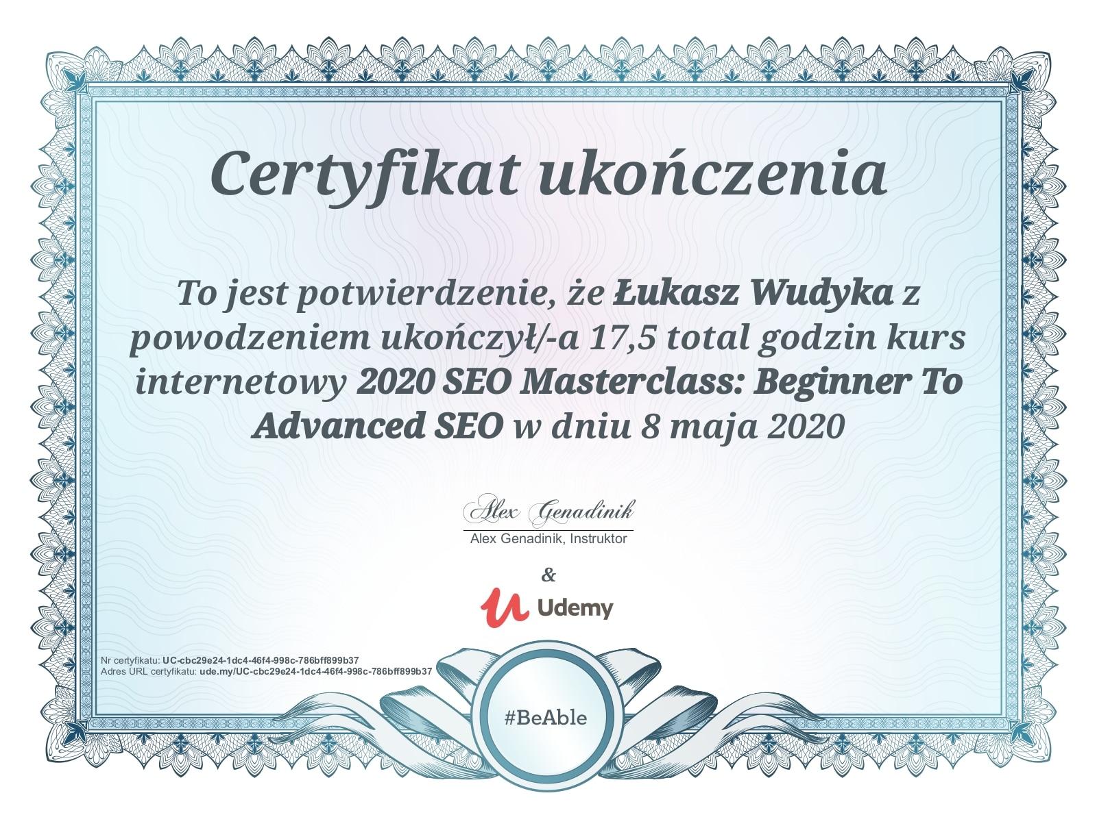 Certyfikat Udemy SEO