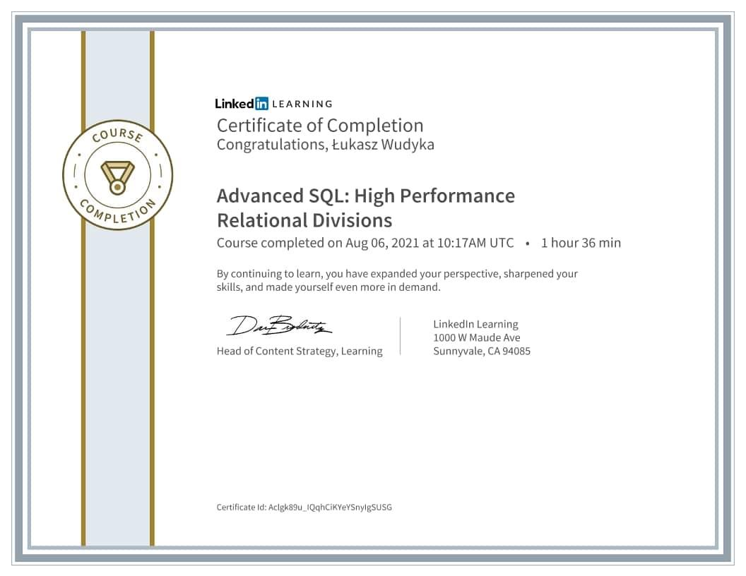Łukasz Wudyka certyfikat - Advanced SQL High Performance Relational Divisions