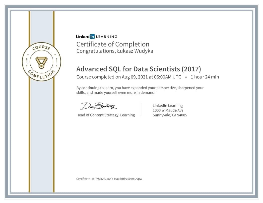 Łukasz Wudyka certyfikat - Advanced SQL for Data Scientists 2017