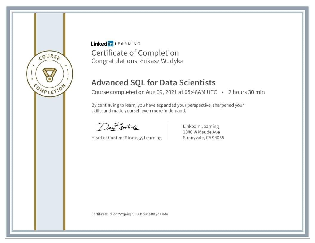 Łukasz Wudyka certyfikat - Advanced SQL for Data Scientists
