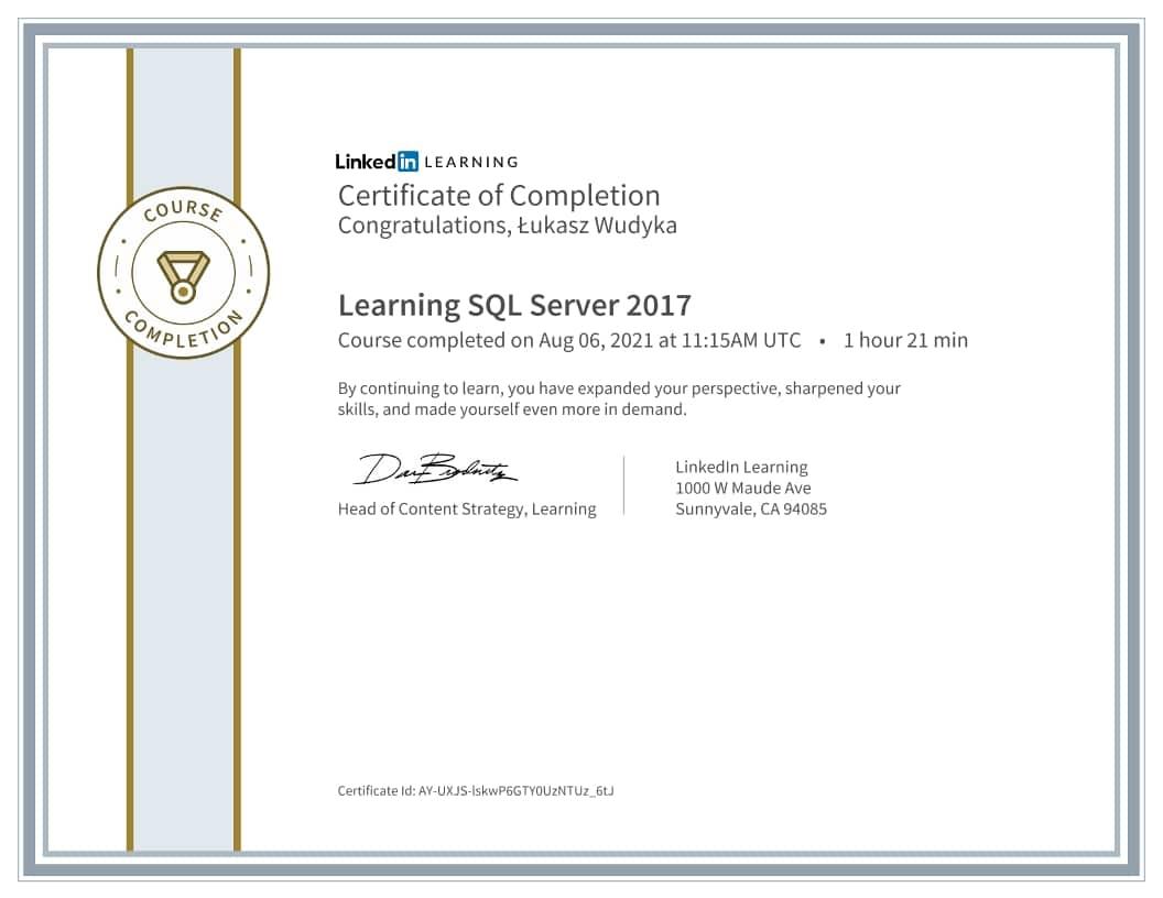 Łukasz Wudyka certyfikat - Learning SQL Server 2017