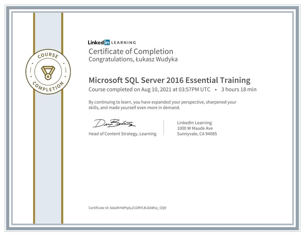 Łukasz Wudyka certyfikat - Microsoft SQL Server 2016 Essential Training