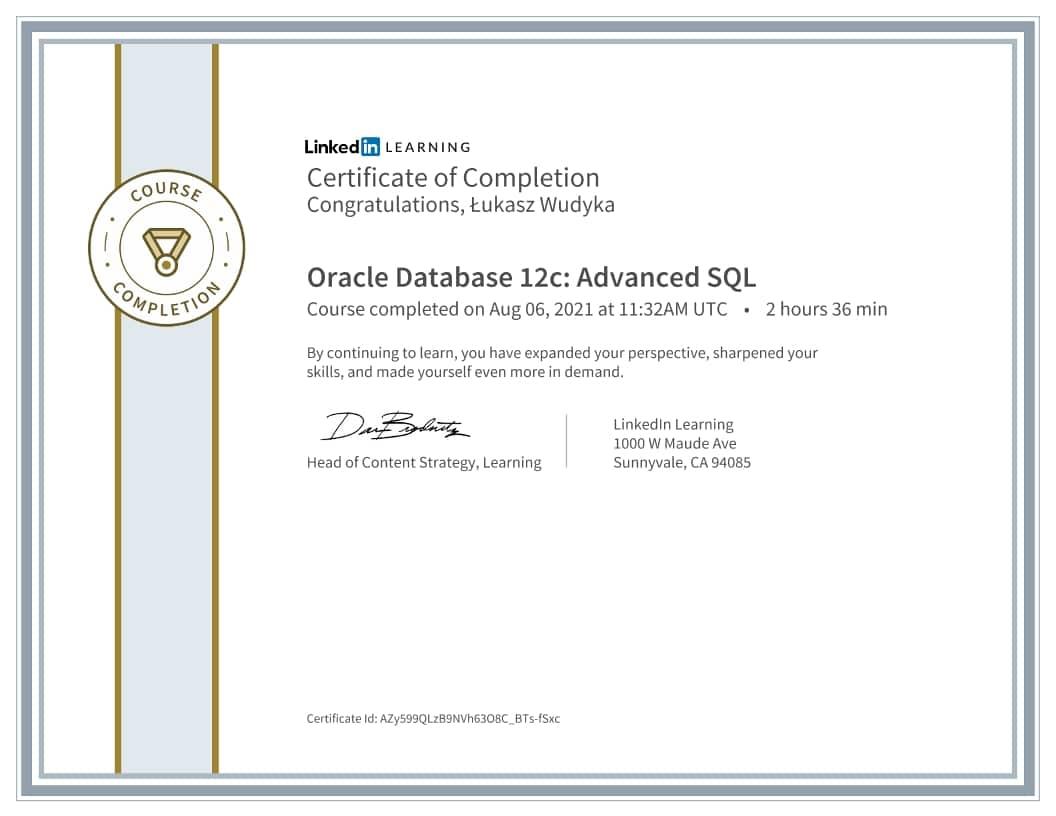 Łukasz Wudyka certyfikat - Oracle Database 12c Advanced SQL