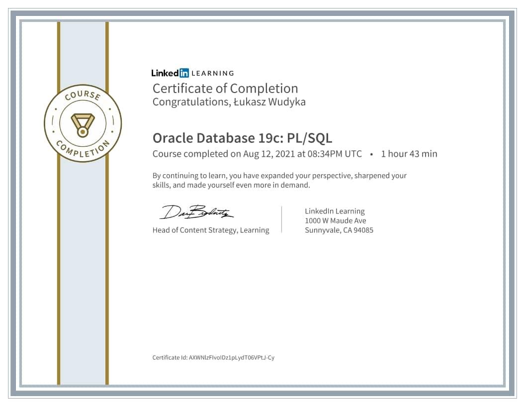 Łukasz Wudyka certyfikat - Oracle Database 19c PL/SQL