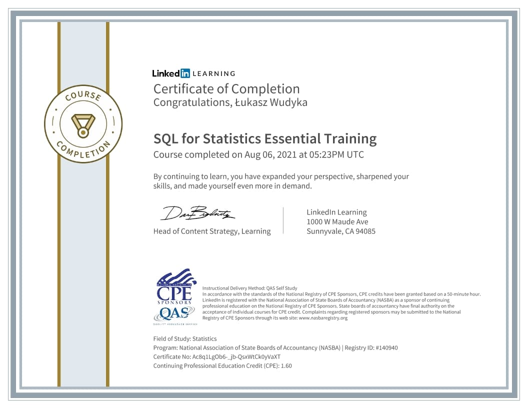 Łukasz Wudyka certyfikat - SQL for Statistics Essential Training